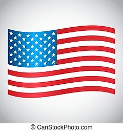 Waving USA flag on a gray background. Vector illustration