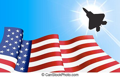 Waving USA flag on azure sky background