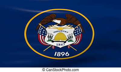 Waving Utah State Flag