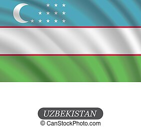 Waving Uzbekistan flag on a white background. Vector illustration