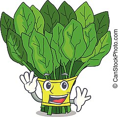 Waving vegetable spinach on a cartoon plate