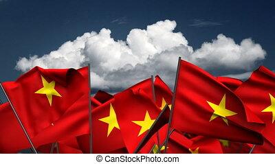 Waving Vietnamese Flags (seamless & alpha channel)