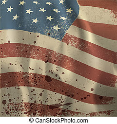 Waving vintage American flag textured background. With dry...