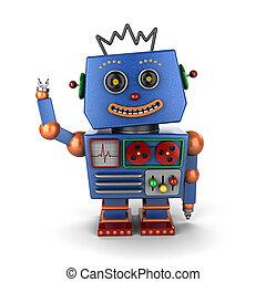 Waving vintage toy robot