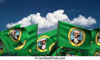 Waving Washington State Flags (seamless & alpha channel)