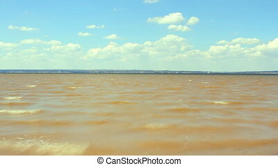 waving water and yacht regatta - Timelapse of waving water...