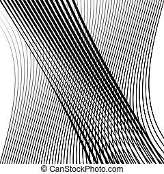 Waving, wavy lines pattern. Billowy, undulating tangle lines...