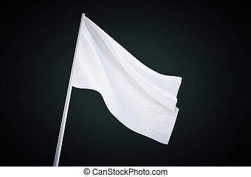 Waving white flag on black background, 3d rendering