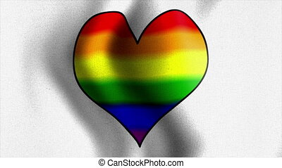 waving white flag rainbow heart - 10587 Rainbow Flag Series...