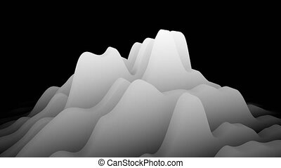 Waving white layers forming minimalistic topographic surface...