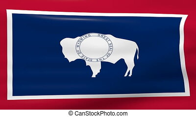 Waving Wyoming State Flag, ready for seamless loop.