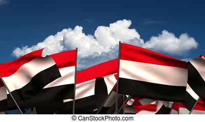 Waving Yemeni Flags (seamless & alpha channel)