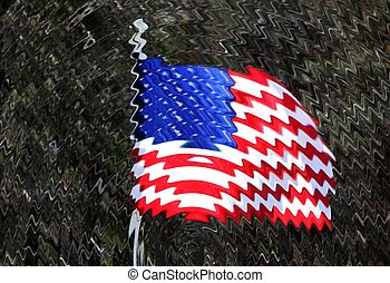 Wavy American Flag graphic - American flag fying in the...