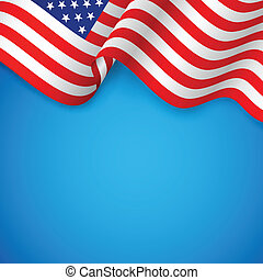 illustration of wavy American Flag for Independence Day