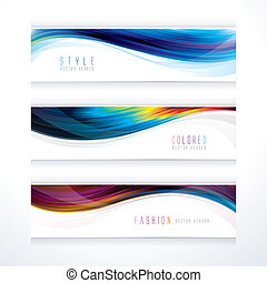 Banner header set of wavy line, suitable for hairstyle.