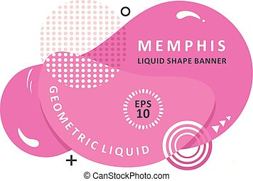 Wavy banner. Modern vector template. Memphis Liquid shape. Mosaic amoeba design