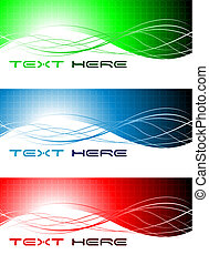 Set of three abstract wavy banners