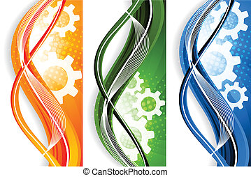 Color wavy banners with gears and circle