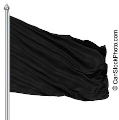 Wavy black textile flag on flagpole
