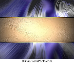 Wavy blue background with gold plate. Template for text and design