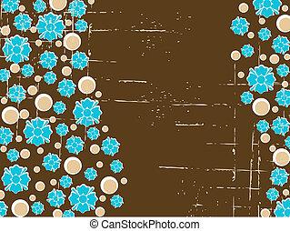 Wavy brown grunge retro floral background