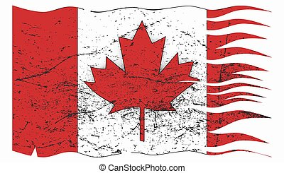 Wavy Canadian Flag Grunged