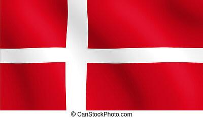 wavy dannish flag illustration - Denmark flag