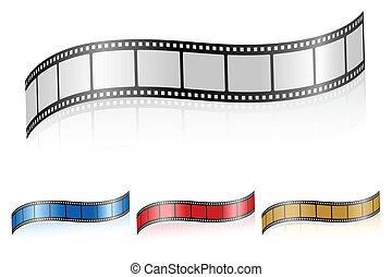 wavy film strip 3 - Film strip isolated on a white...