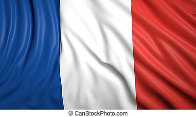 Wavy flag of France closeup background