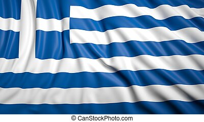 Wavy flag of Greece closeup background