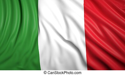 Wavy flag of Italy closeup background
