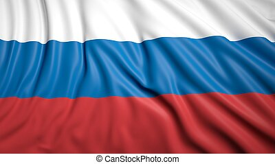Wavy flag of Russia closeup background