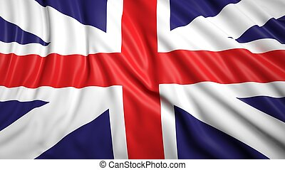 Wavy flag of UK closeup background