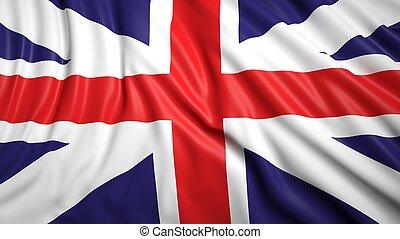 Wavy flag of UK closeup background