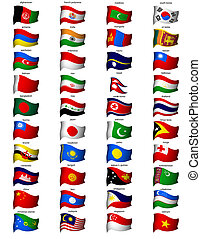 wavy flags asia - set of wavy asian flags with high detail
