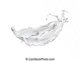 Wavy flying abstract milk splash against white background.