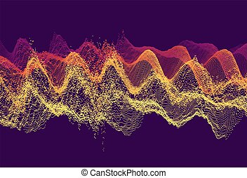 Wavy grid background. 3d abstract vector illustration with particle.