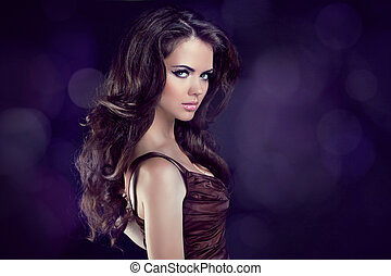 Wavy Hair. Beautiful Elegant Brunette Woman. Healthy Long Brown Hair. Beauty Model Girl.