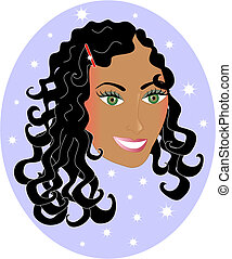 Wavy Haired Mixed Woman