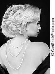 Wavy Hairstyle. Jewelry And Beauty. Fashion Art Photo. Retro...