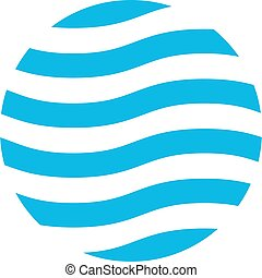 Wavy logo design template. Blue theme. Abstract blue waves in the circle. Vector illustration