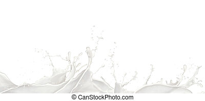 Wavy Milk splashes, isolated on white background