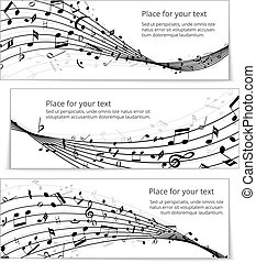 wavy music banners templates vector eps10 illustration