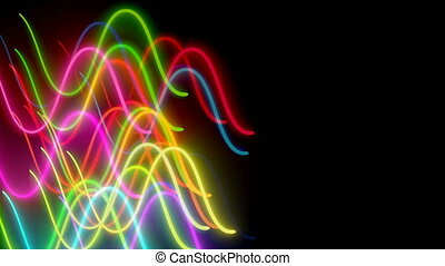 Wavy neon lins are in dark space, computer generated modern abstract background, 3d render