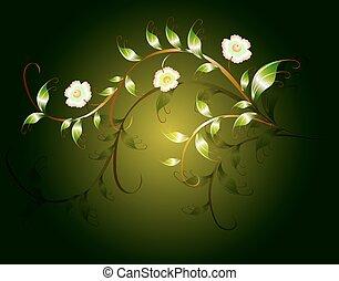 Wavy pattern of beautiful green flowers on a dark base. EPS10 vector illustration