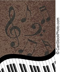 Wavy Piano Keyboard with Musical Notes Illustration