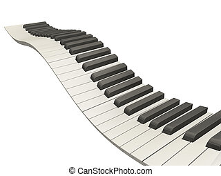3D render of wavy piano keys on white background