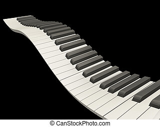 Wavy piano keys - 3D render of wavy piano keys on black