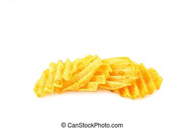 Wavy potato chips isolated on white background