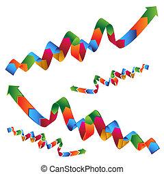 An image of a set of wavy ribbon profit arrows.